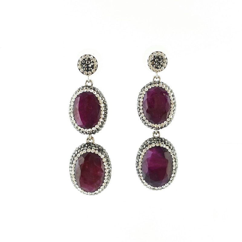 DRE108- DOUBLE STONE RUBY EARRING