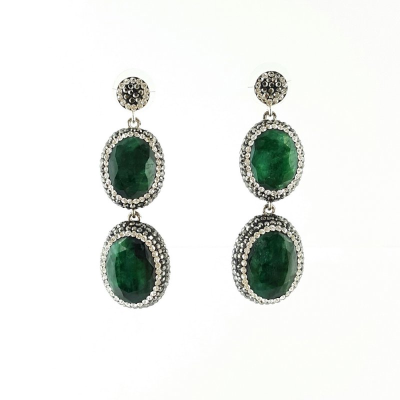 DRE109- EMERALD DOUBLE STONE EARRING