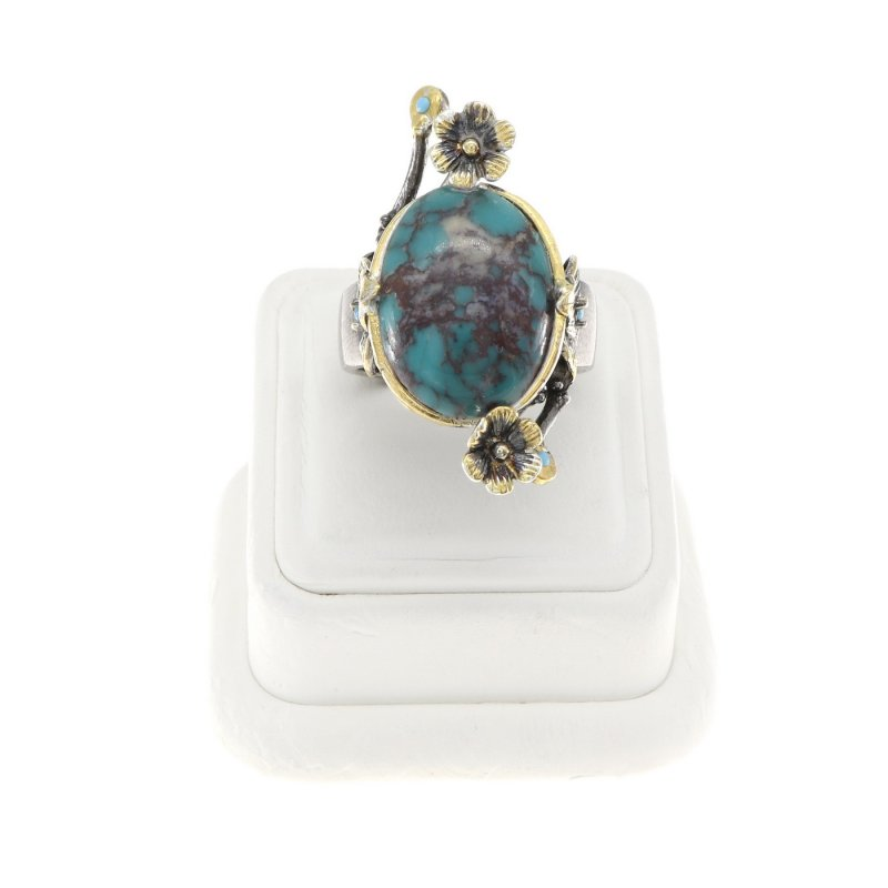 Floral Handmade Ring With Turquoise Stone