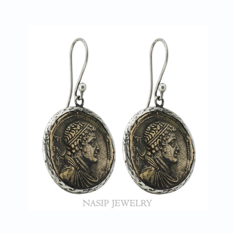 BRONZE ROMAN COIN 925 SILVER EARRING