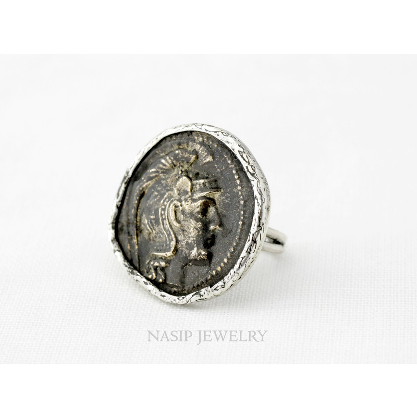 BRONZE ROMAN COIN 925 SILVER RING