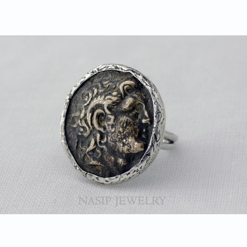 BRONZE ROMAN COIN 925 SILVER RING