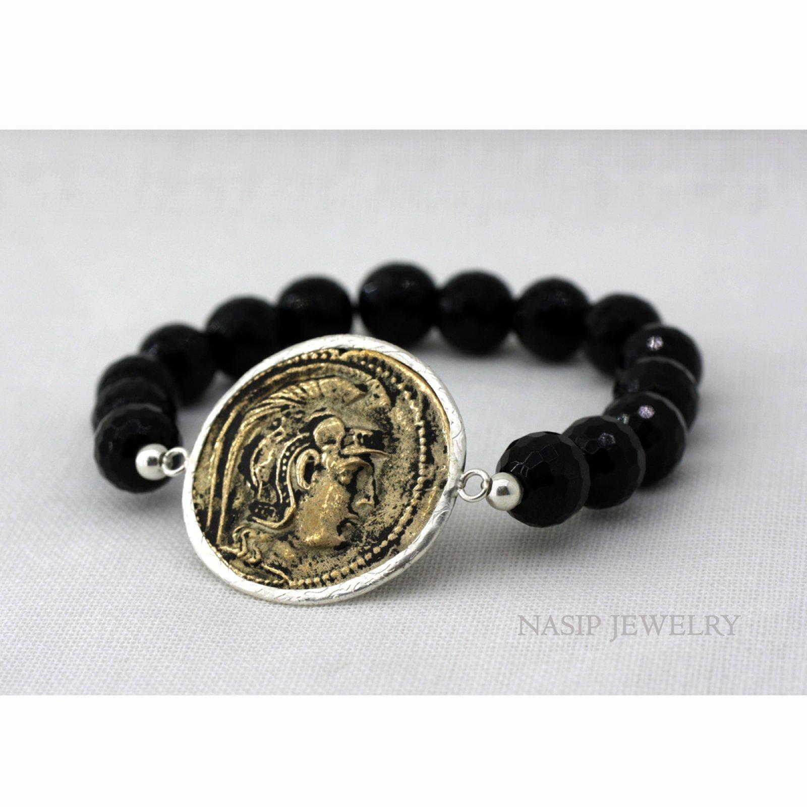 ONYX STONE BEADS, BRONZE ROMAN COIN 925 SILVER BRACELET