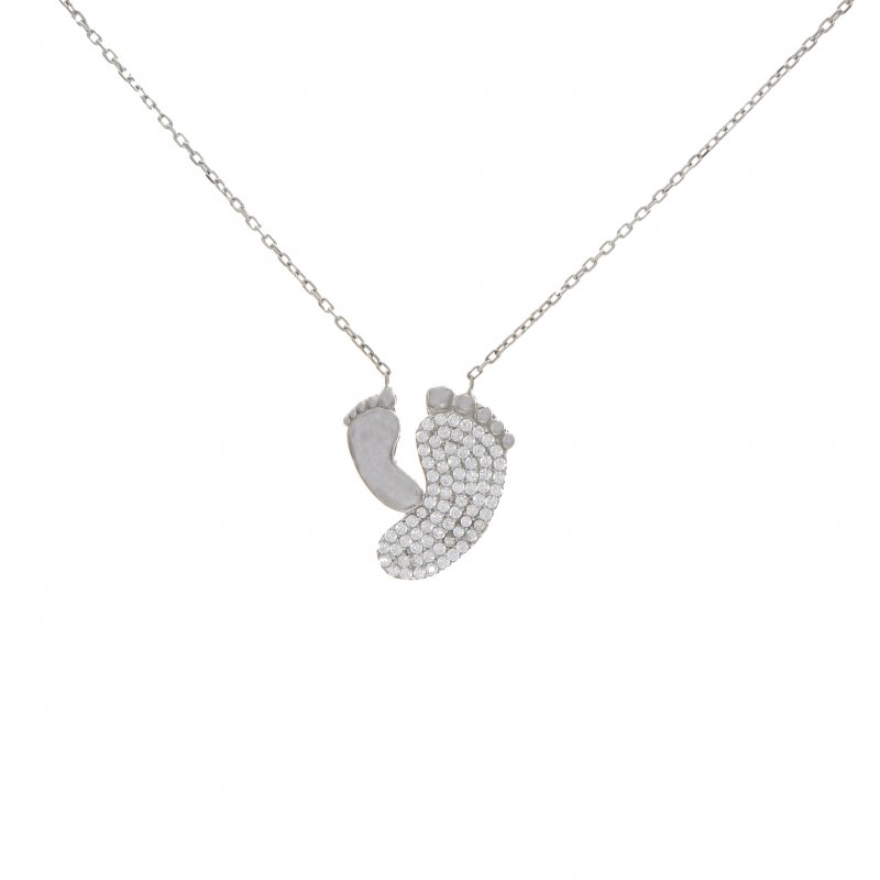 Baby Feet Silver Necklace