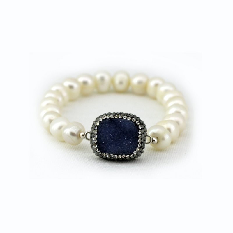 DRB10 - FRESH WATER PEAR BEADS & DRUZY STONE IN BETWEEN BRACELET, WITH SMALL SWAROVSKI CRYSTALS