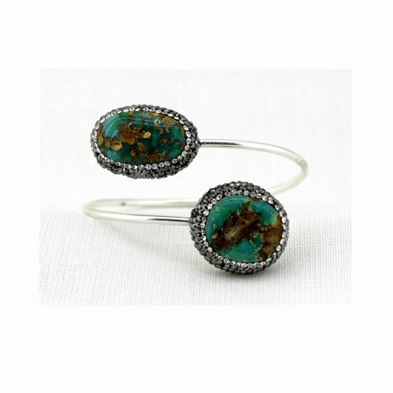 DRB16 - TURQUOISE STONE BRACELET, WITH SMALL SWAROVSKI CRYSTALS