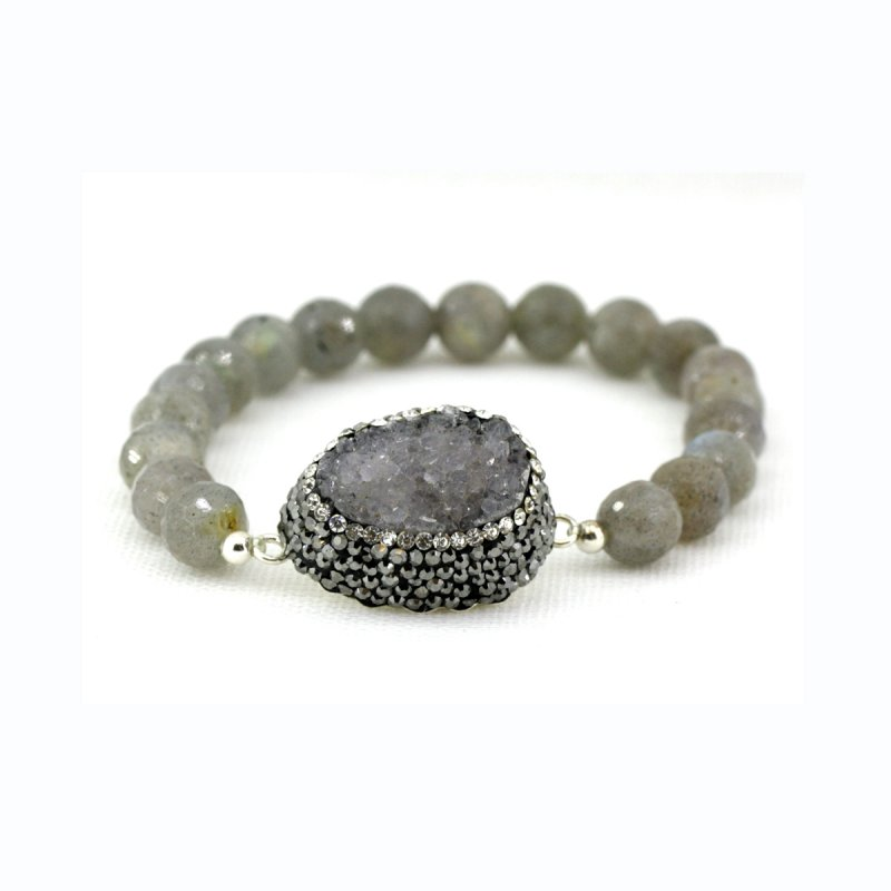 LABRADORITE BEADS & DRUZY STONE IN BETWEEN BRACELET WITH SMALL SWAROVSKI CRYSTALS