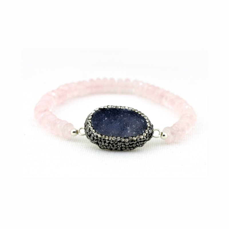 ROSE QUARTZ BEADS & DRUZY STONE IN BETWEEN BRACELET WITH SMALL SWAROVSKI CRYSTALS