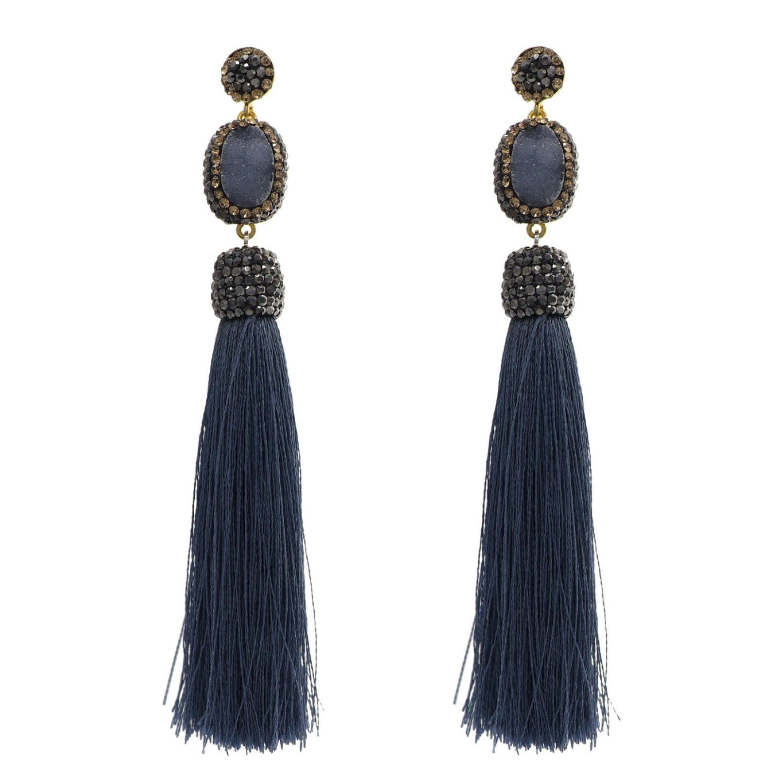 DRE111 - CALCEDONY DRUZY LONG TASSEL EARRING