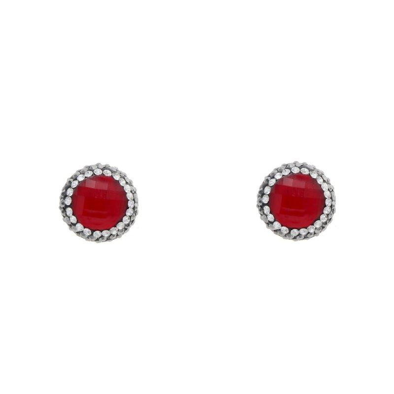 DRE82 - RED HYDRO QUARTZ STUD EARRING