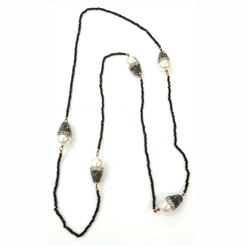 DRN58 - BLACK SPINEL STONE BEADS & MAJORCA PEARLS NECKLACE DECORATED WITH SWAROVSKI CRYSTALS