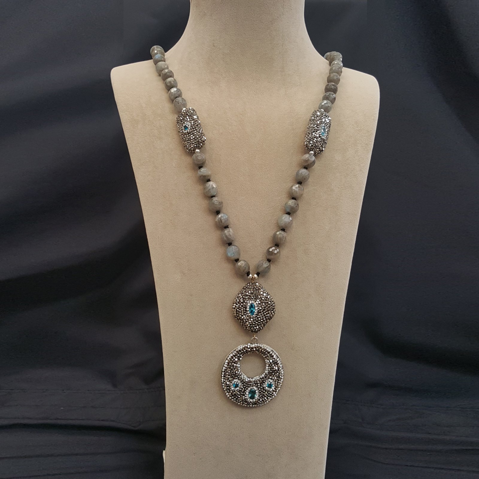DRN20 -LABRADORITE NECKLACE WITH ASSORTED DESGNER FINDINGS