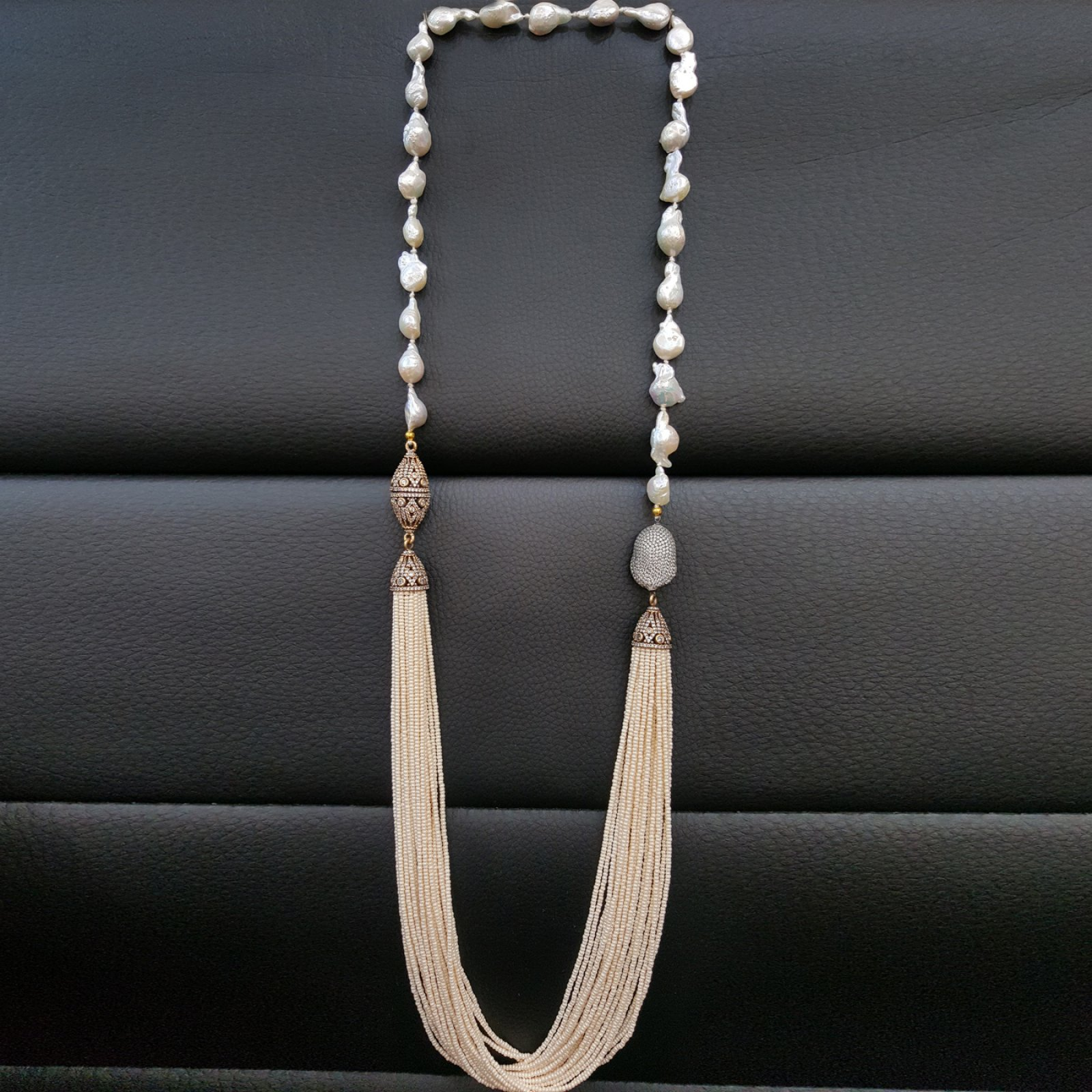 DRN21 - BAROQUE PEARL NECKLACE WITH ASSORTED DESIGNER FINDINGS