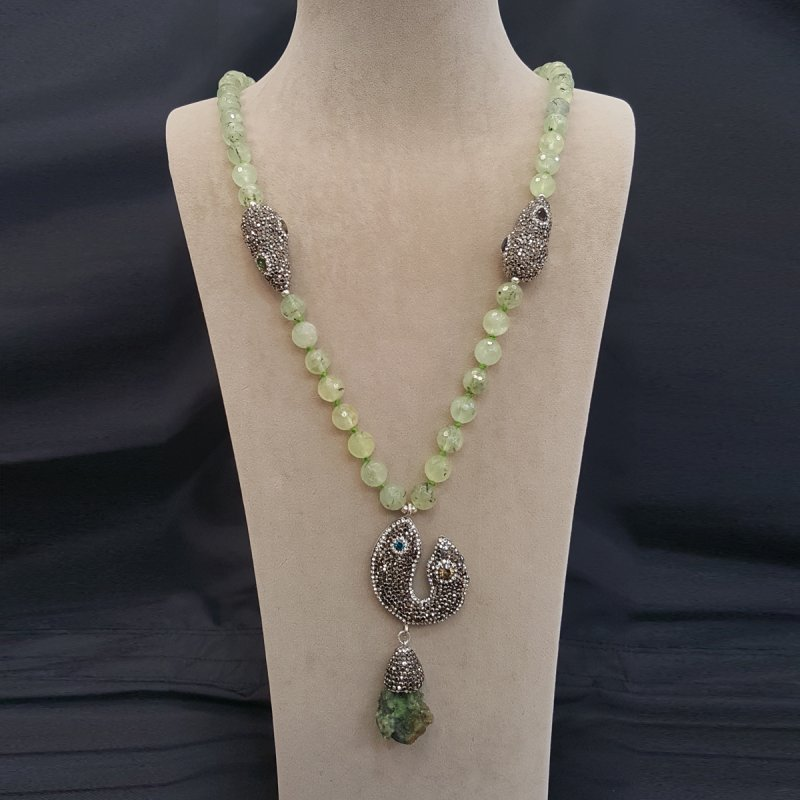 DRN23 - ROTYLE QUARTZ STONE BEADS WITH ASSORTED SWAROVSKI CRYSTAL FINDINGS