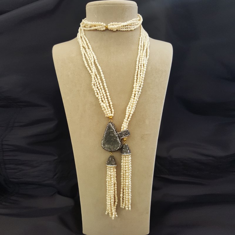 DRN26 - FRESH WATER PEARL & DRUZY STONE DECORATED WITH SWAROVSKI CRYSTALS NECKLACE