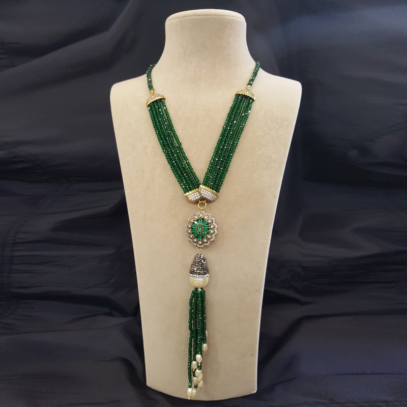 DRN27 - GREEN JADE & MAJORCA PEARL DECORATED WITH SWAROVSKI CRYSTALS WITH TURKISH PENDANT