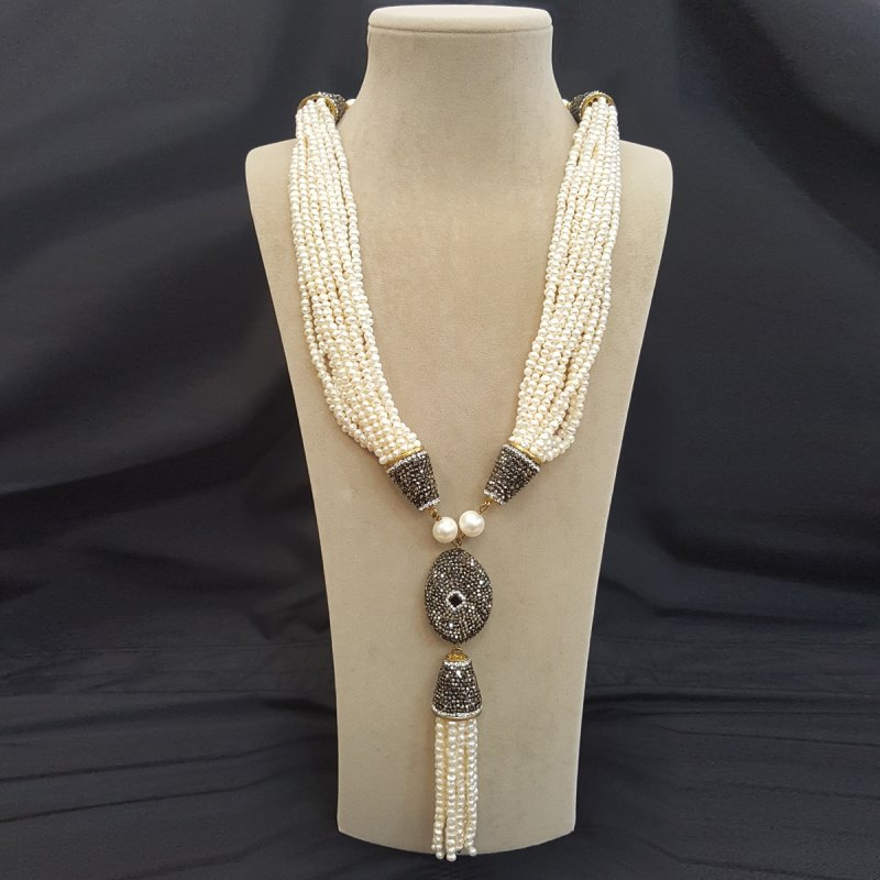 DRN29 - FRESH WATER PEARL DECORATED WITH SWAROVSKI CRYSTALS