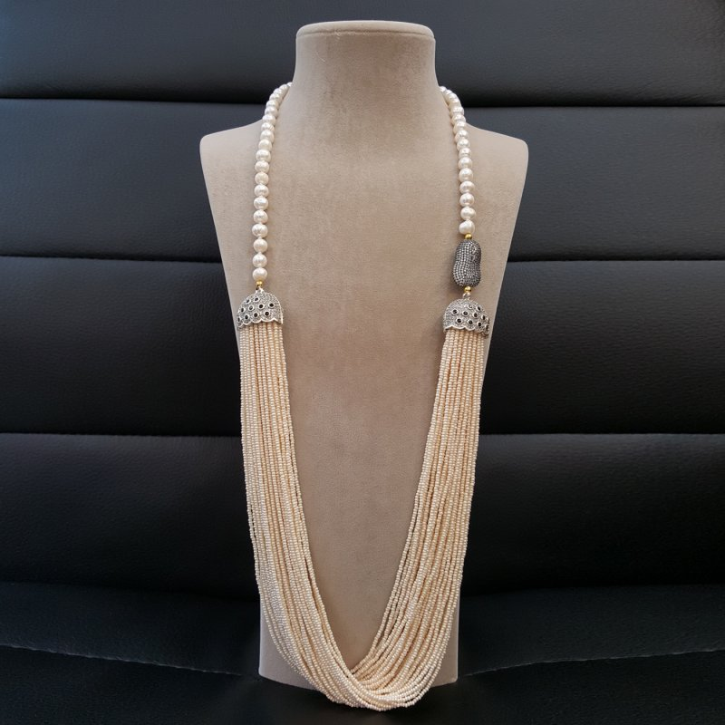 DRN31 - FRESH WATER PEARL NECKLACE DECORATED WITH TURKISH FINDINGS