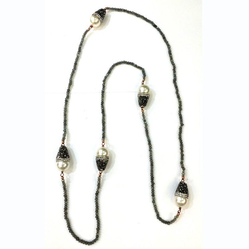 DRN55 - LABRADORITE STONE BEADS & MAJORCA PEARLS NECKLACE DECORATED WITH SWAROVSKI CRYSTALS