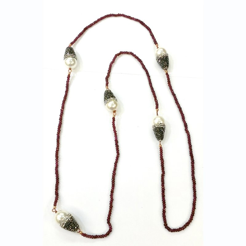 DRN56 - GARNET STONE BEADS & MAJORCA PEARLS NECKLACE DECORATED WITH SWAROVSKI CRYSTALS