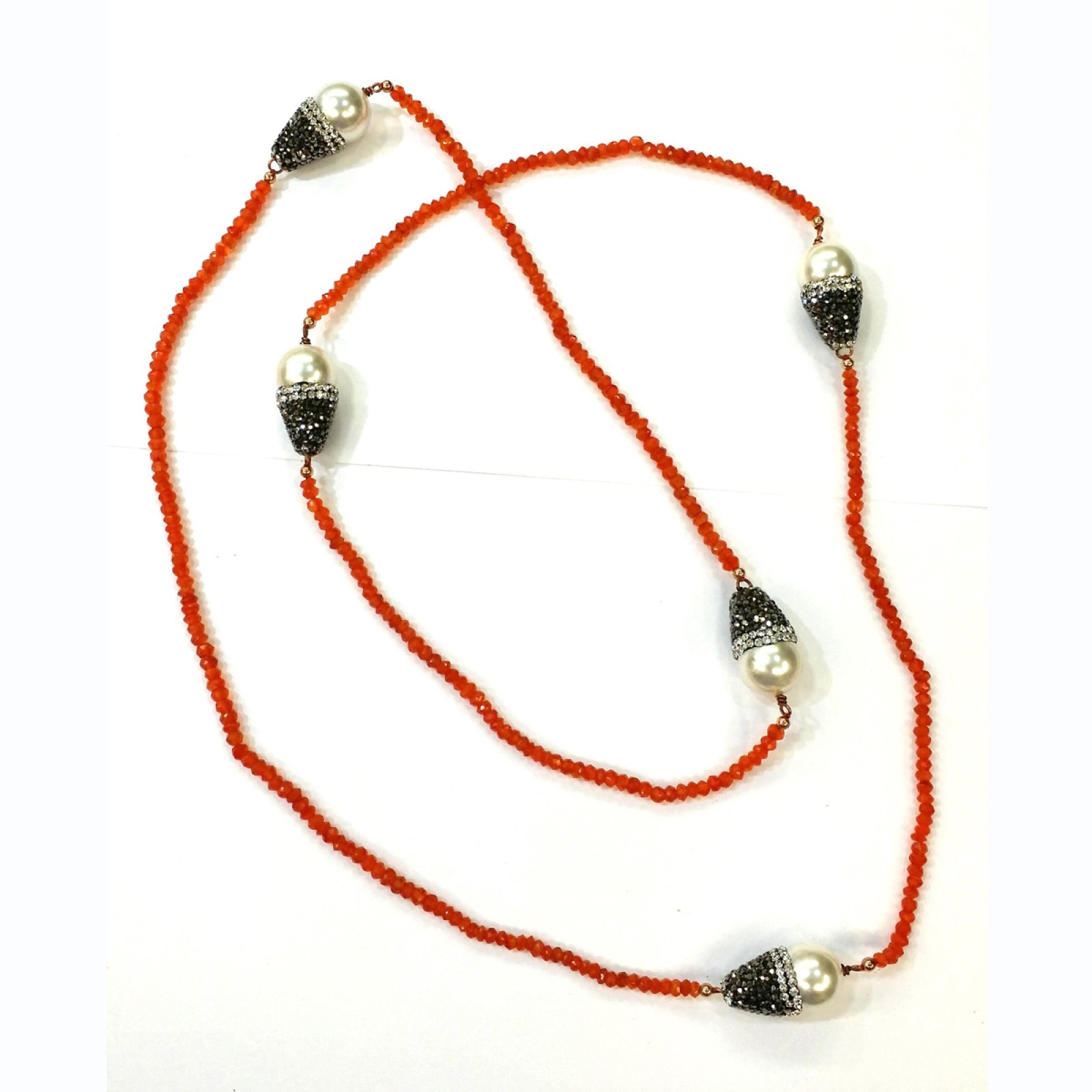 DRN57 - CORNALION STONE BEADS & MAJORCA PEARLS NECKLACE DECORATED WITH SWAROVSKI CRYSTALS