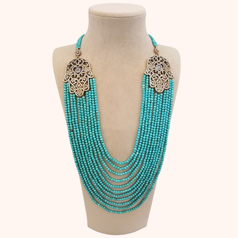 DRN01 - DESIGNER TURQUOISE NECKLACE WITH TWO TURKISH BROOCHES