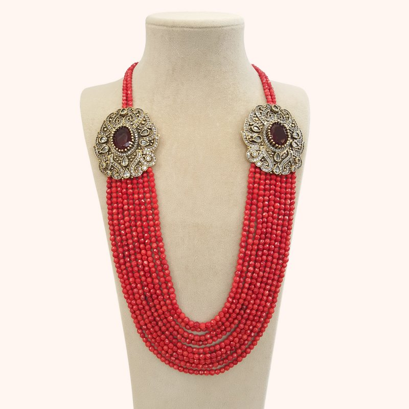 DRN02 - DESIGNER CORAL NECKLACE WITH TWO TURKISH BROOCHES