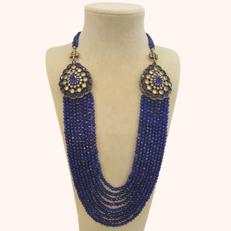 DRN03 - DESIGNER BLUE JADE NECKLACE WITH TWO TURKISH BROOCHES