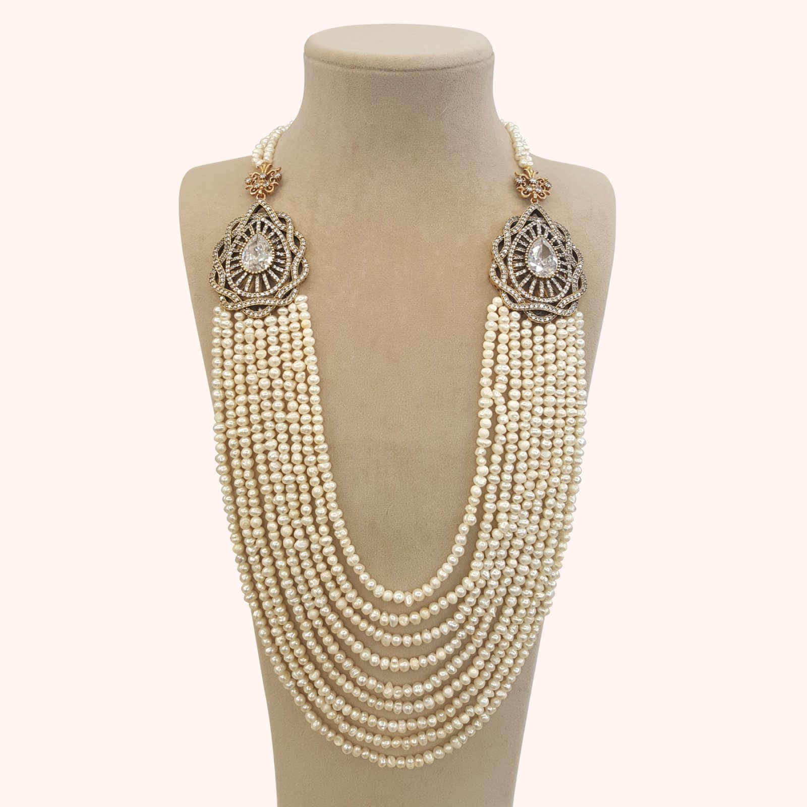 DRN05 - DESIGNER PEARL NECKLACE WITH TWOTURKISH BROOCHES