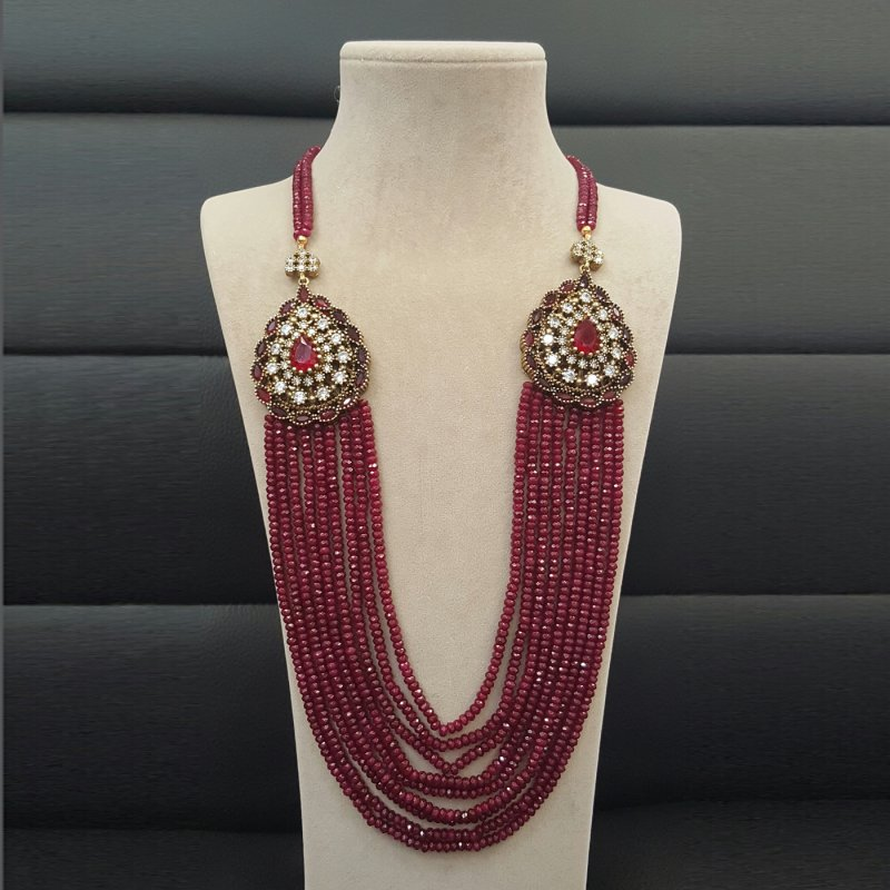 DRN06 - DESIGNER RED JADE NECKLACE WITH TWO TURKISH BROOCHES