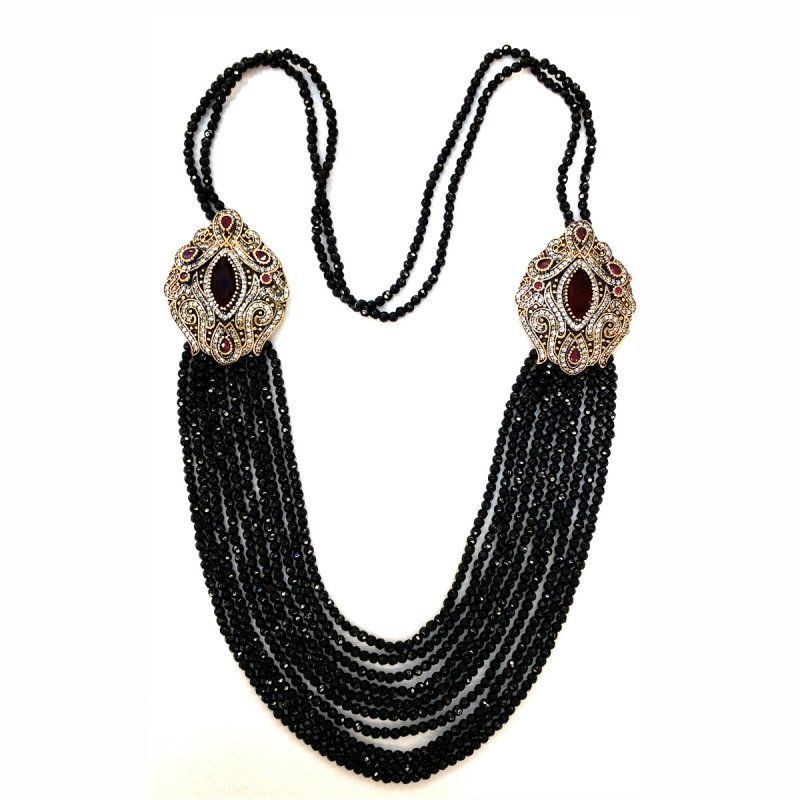 DRN07 - DESIGNER ONYX NECKLACE WITH TWO TURKISH BROOCHES