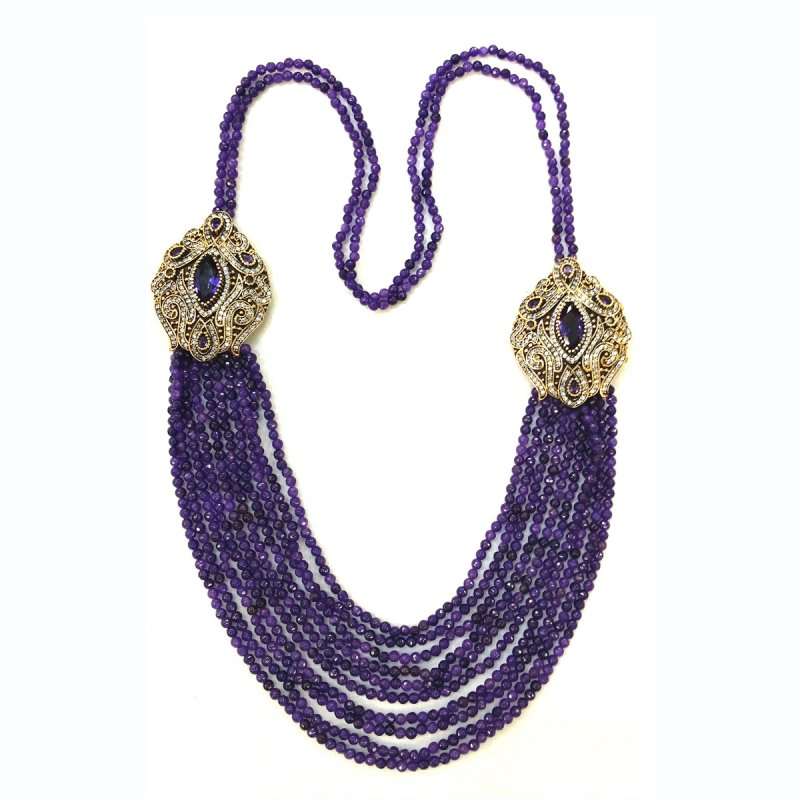 DRN08 - DESIGNER AMETHYST NECKLACE WITH TWO TURKISH BROOCHES