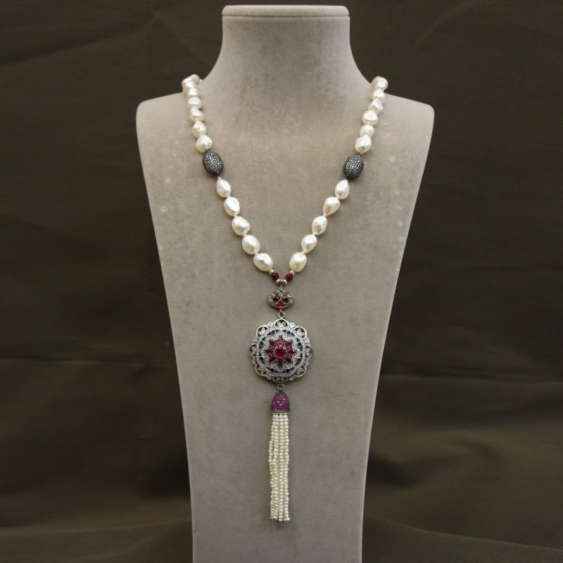 DRN31 - FRESH WATER PEARL NECKLACE DESIGNED WITH 925 STERLING SILVER BROOCH & SILVER PAVE CZ BEADS