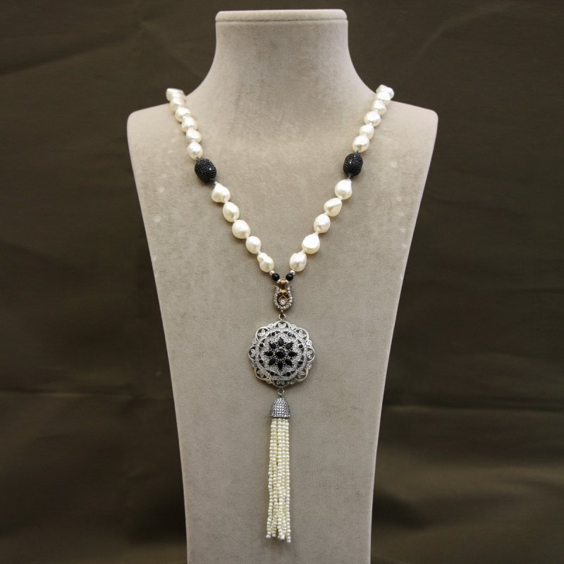 DRN33 - FRESH WATER PEARL NECKLACE DESIGNED WITH 925 STERLING SILVER BROOCH & SILVER PAVE CZ BEADS