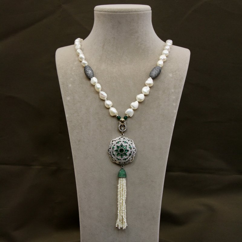 DRN34 - FRESH WATER PEARL NECKLACE DESIGNED WITH 925 STERLING SILVER BROOCH & SILVER PAVE CZ BEADS