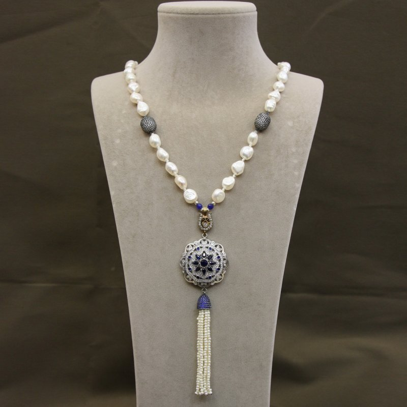 DRN35 - FRESH WATER PEARL NECKLACE DESIGNED WITH 925 STERLING SILVER BROOCH & SILVER PAVE CZ BEADS