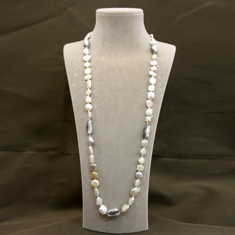 DRN39 - FRESH WATER PEARL NECKLACE DESIGNED WITH SAWAROVSKI CRYSTALS