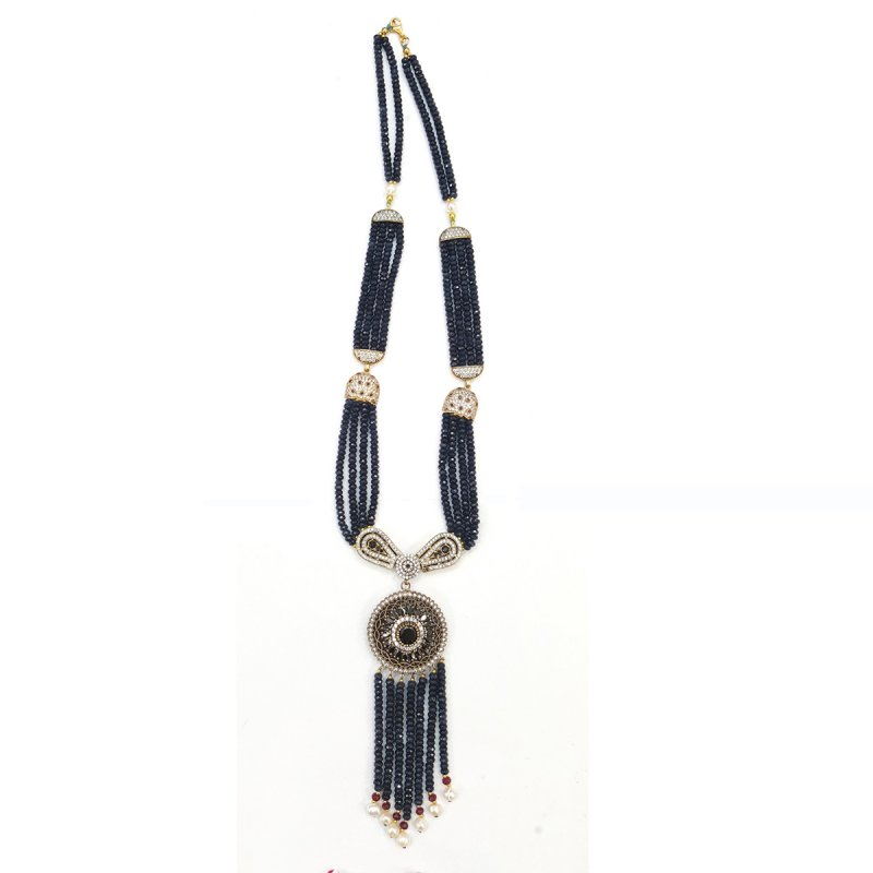 GEN107 - DESIGNER BLUE JADE NECKLACE WITH PENDANTS AND FINDINGS