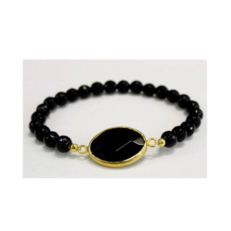 Onyx Gold Plated Handmade Bracelet
