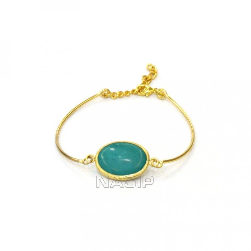 Turquoise Gold Plated Handmade Bracelet