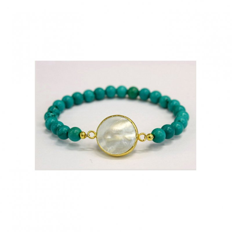 GB503 - GOLD PLATED HANDMADE MOTHER OF PEARL & TURQUOISE BEADS BRACELET