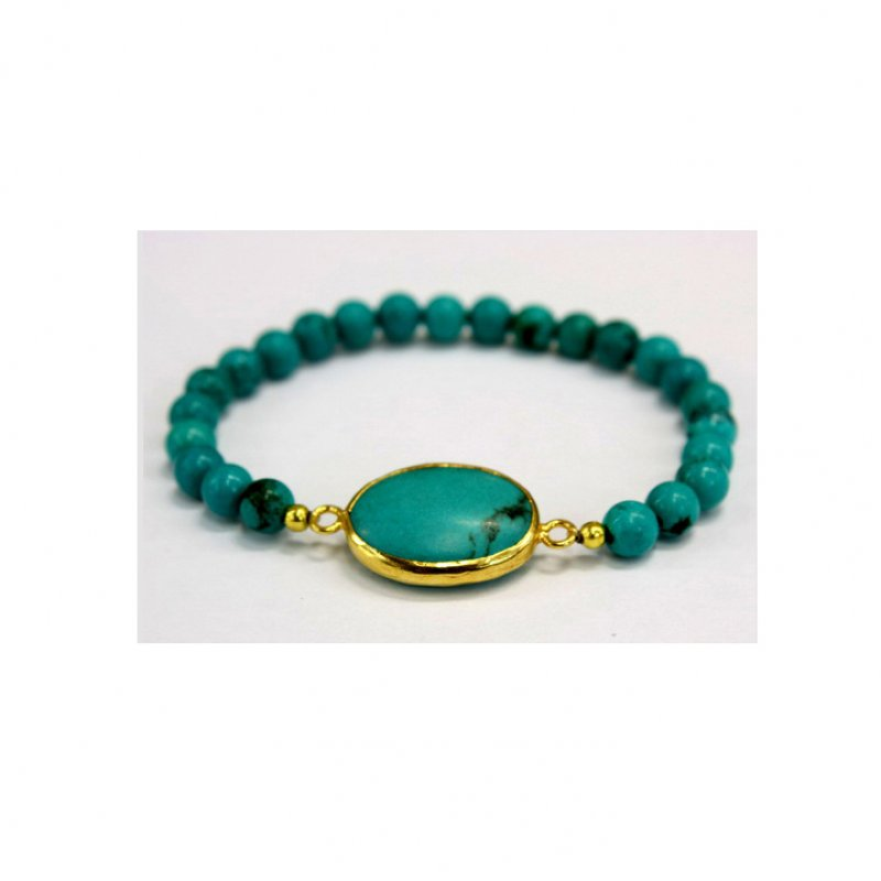 GB504 - GOLD PLATED HANDMADE TURQUOISE BEADS BRACELET