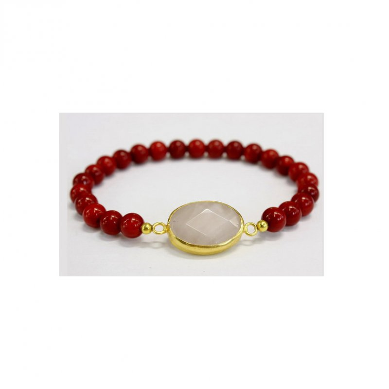 GB505 - GOLD PLATED HANDMADE ROSE QUARTZ & CORAL BRACELET