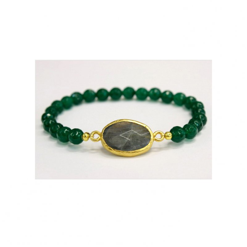 GB506 - GOLD PLATED HANDMADE LABRADORITE & GREEN JADE BEADS BRACELET