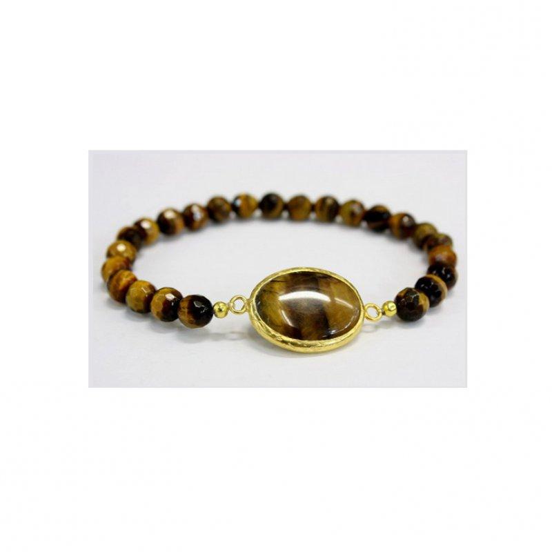 GB511 - GOLD PLATED HANDMADE TIGER EYE BRACELET