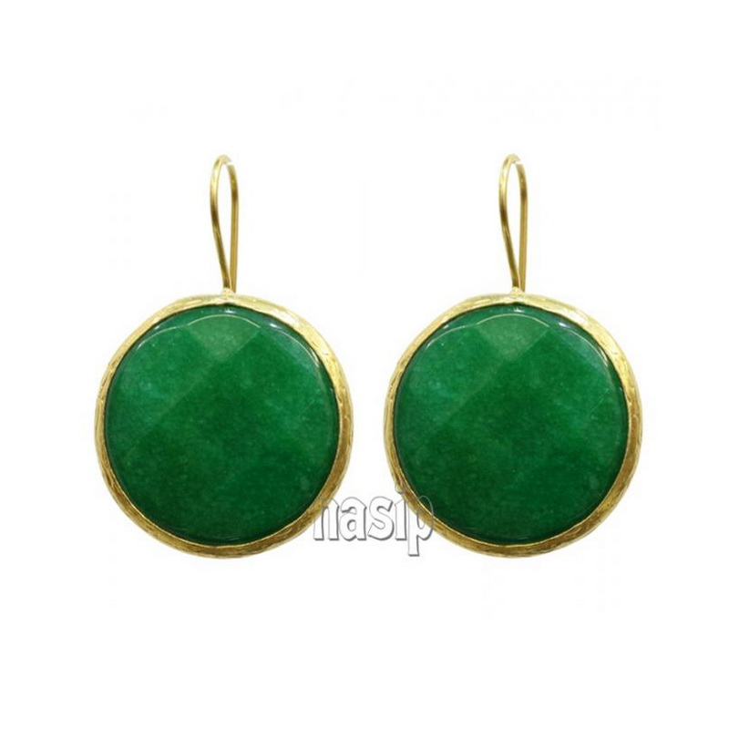 GSE105 - GOLD PLATED HANDMADE GREEN JADE EARRING