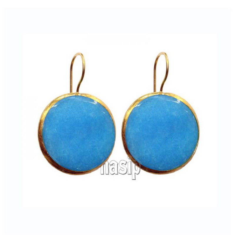 GSE106 - GOLD PLATED HANDMADE LIGHT BLUE JADE EARRING
