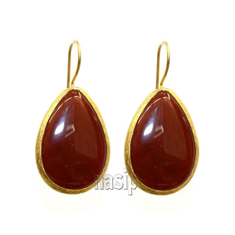 GSE109 - GOLD PLATED HANDMADE GARNET RED JADE EARRING