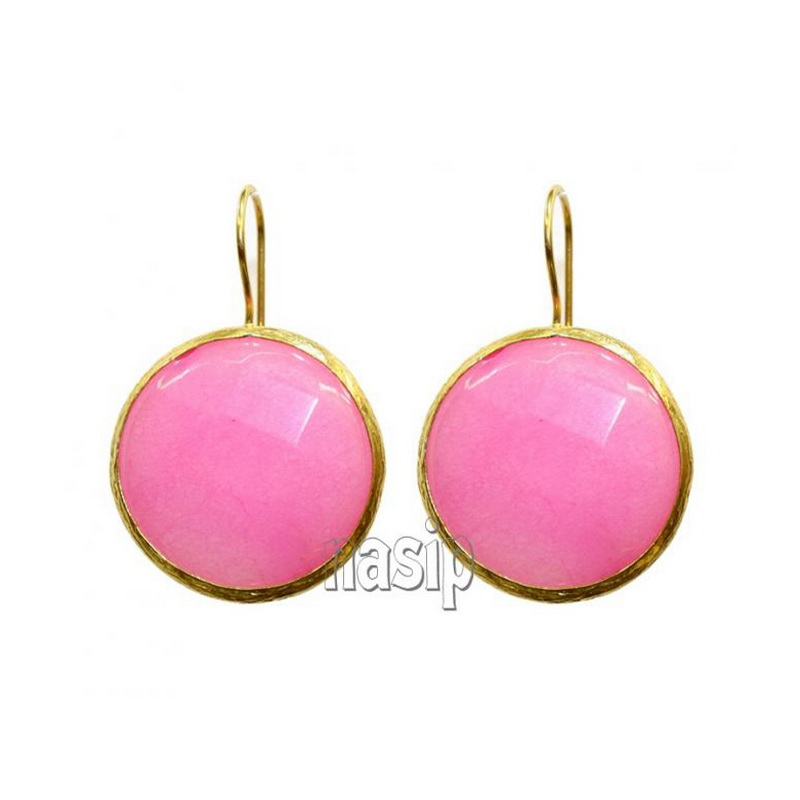 GSE114 - GOLD PLATED HANDMADE PINK  JADE EARRING