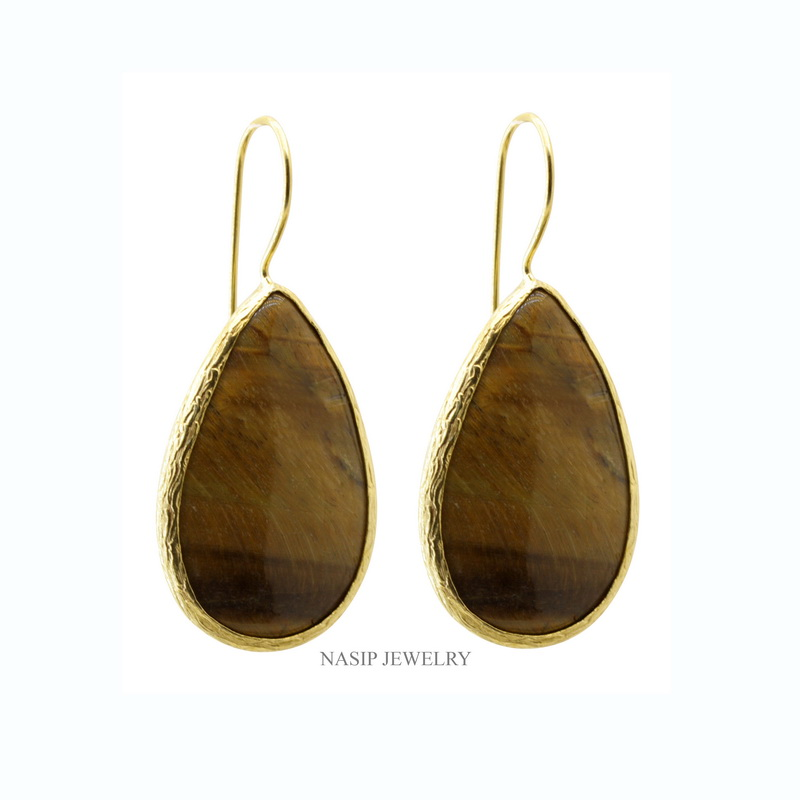 GSE134 - GOLD PLATED HAND TIGER EYE EARRING